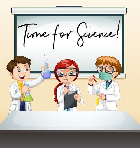 Drie wetenschappers in laboratorium met uitdrukkingstijd voor wetenschap