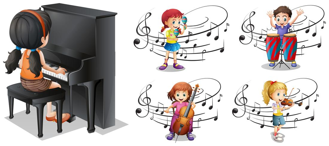 Crianças, tocando, diferente, musical, instrumentos