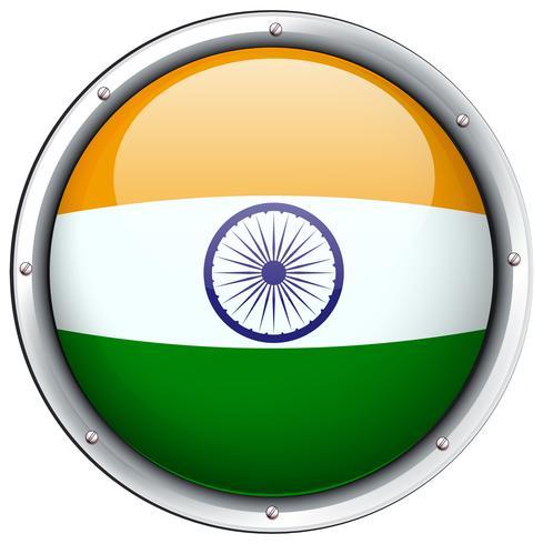Drapeau de l'Inde sur le badge rond