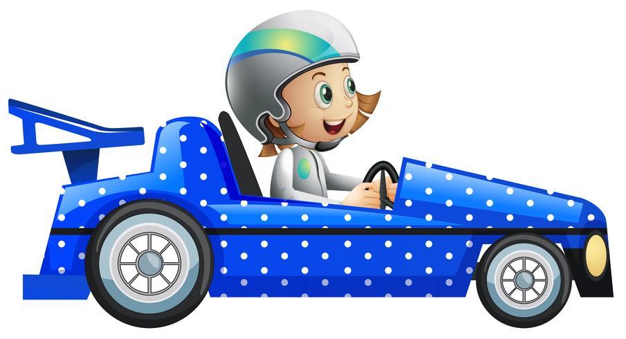 Menina no carro de corrida de bolinhas