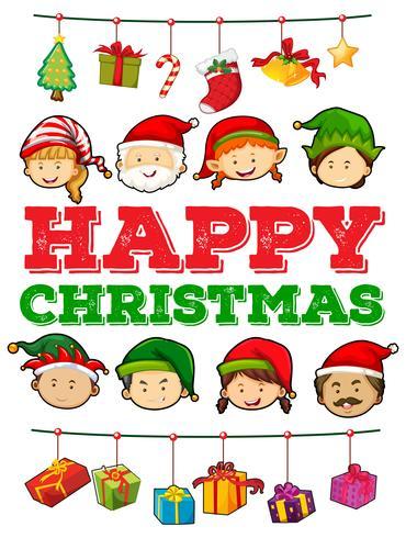 Tema natalizio con persone e regali
