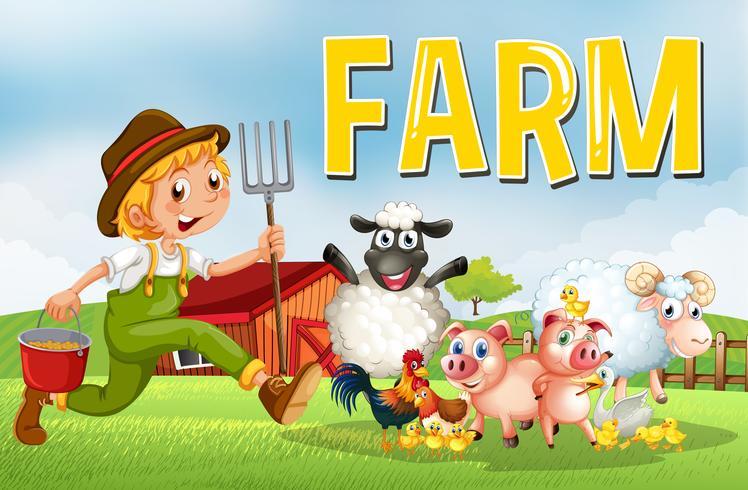 Escena de la granja con los agricultores y los animales.