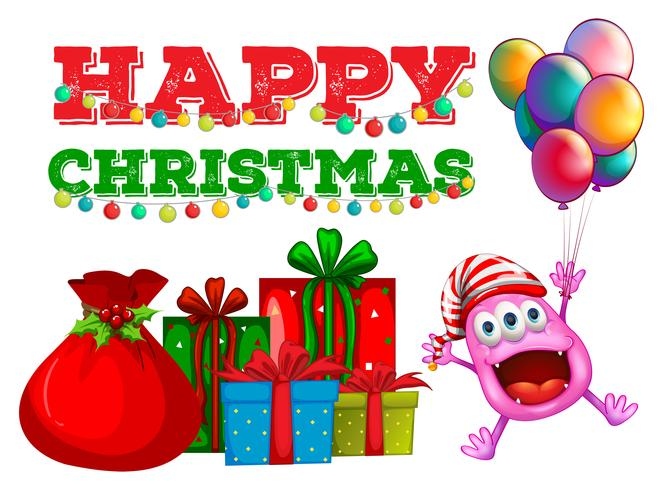 Christmas theme with alien and balloons