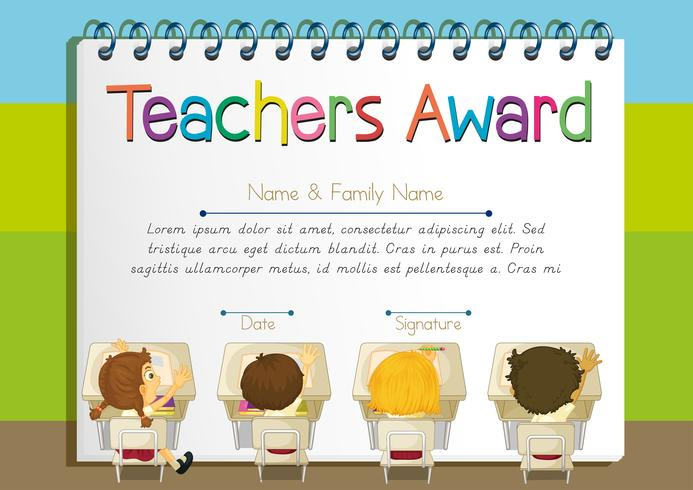 Certifikatmall för lärarutmärkelse