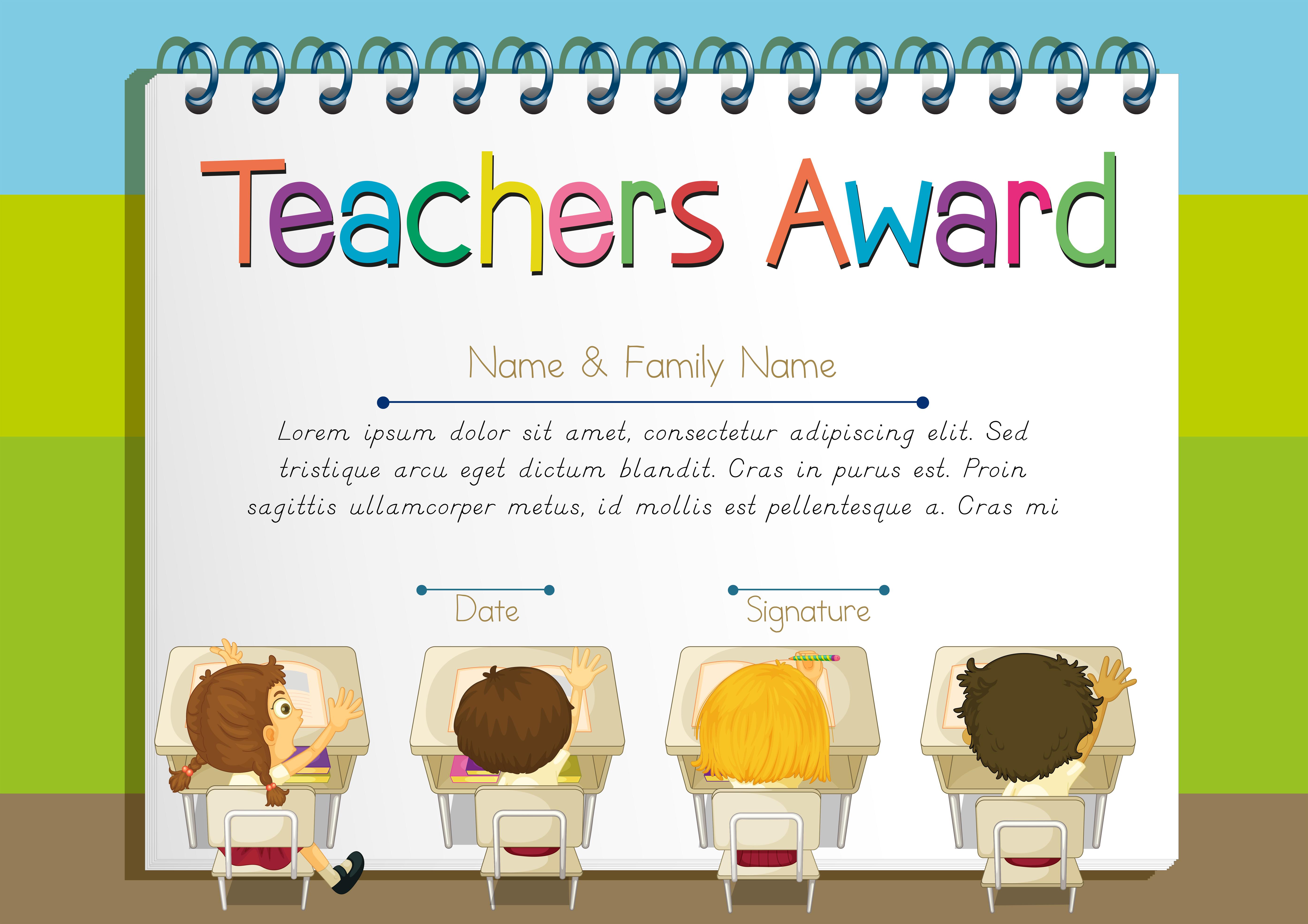 certificate template for teachers award