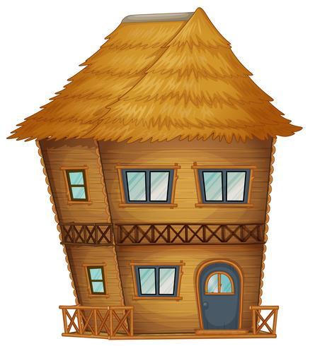 Två våningar hut gjord av bambu