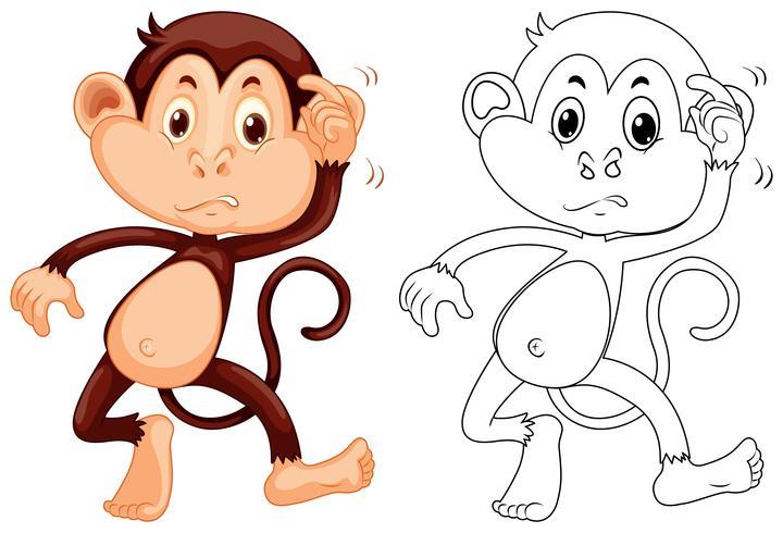 Tierumriss für kleinen Affen