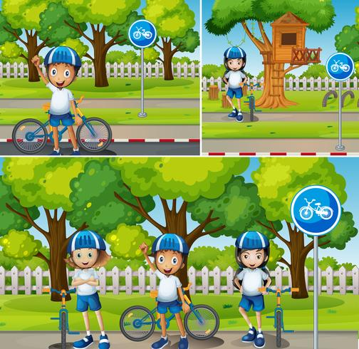 Niños montando bicicleta en el parque