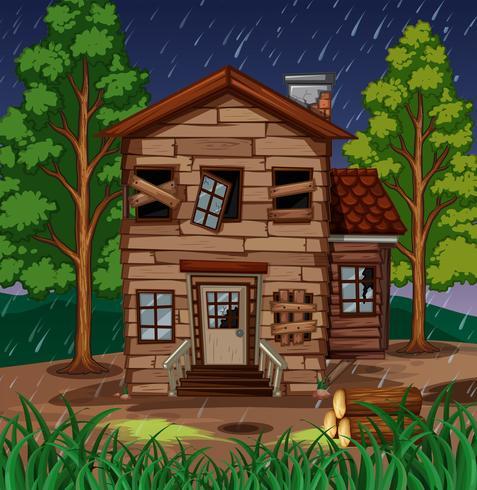 Szene mit Holzhaus mit zerbrochenen Fenstern