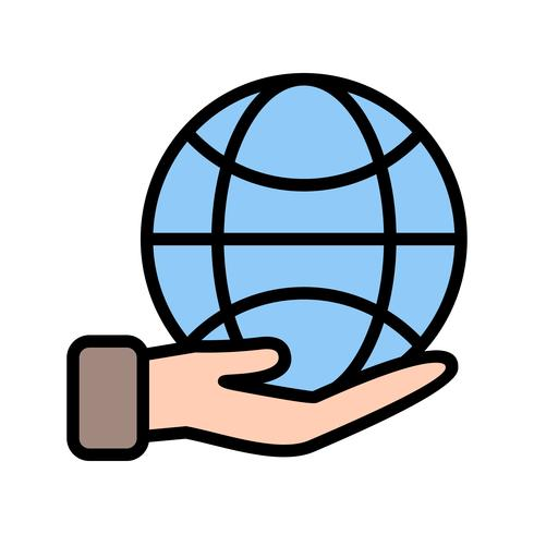 Earth on hand Vector Icon