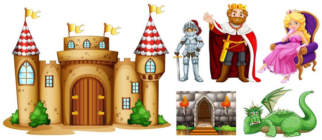 Sprookjesfiguren en paleisgebouw