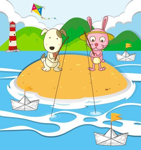 Cão e coelho de pesca na ilha