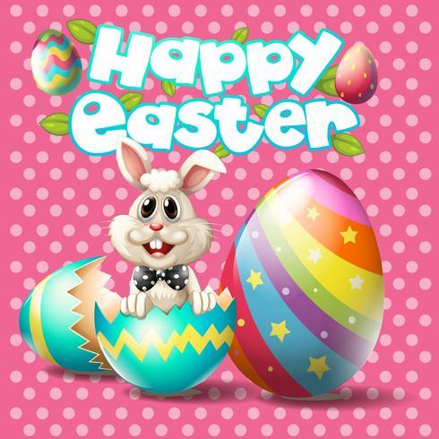 Fröhliche Ostern mit Häschen und Eiern auf rosa Hintergrund