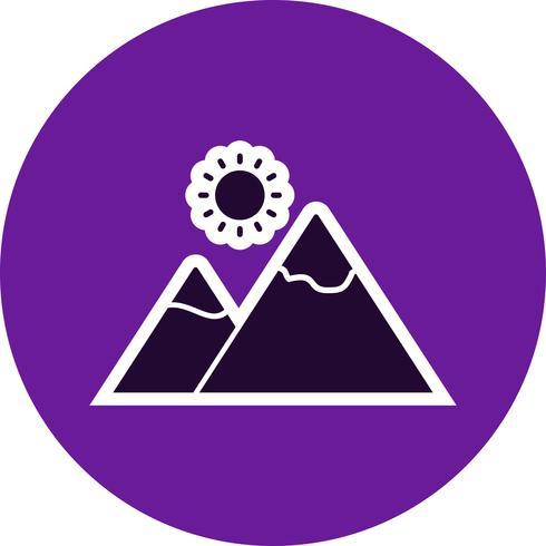 Berg mit Sonne Vektor Icon