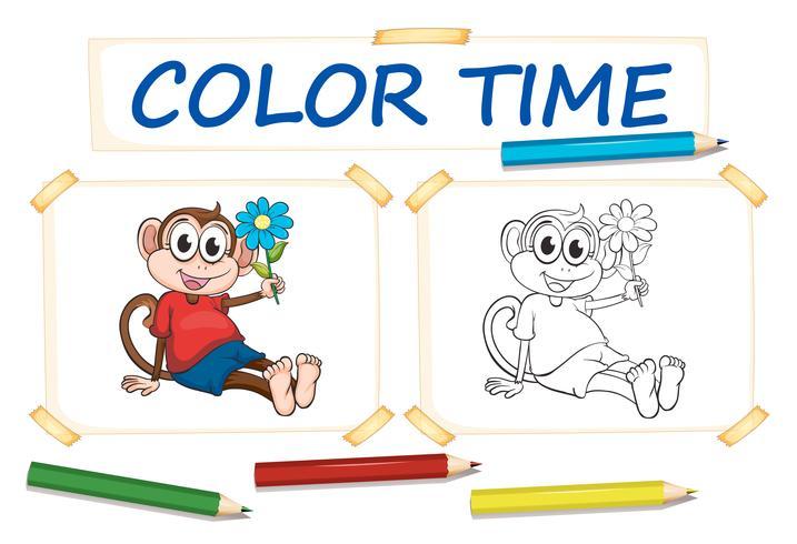 Modello da colorare con scimmia e fiore