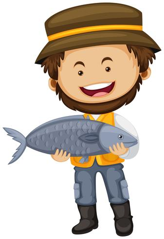 Fisherman holding big fish in hands vector