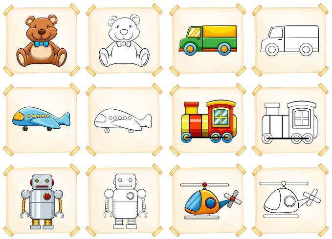 Malvorlage für verschiedene Spielzeuge