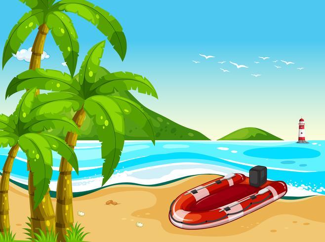 Bote de goma en la playa. vector