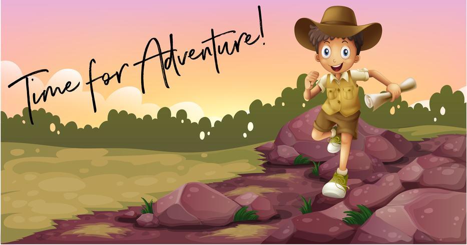Junge, der draußen kampiert und Zeit für Abenteuer formuliert