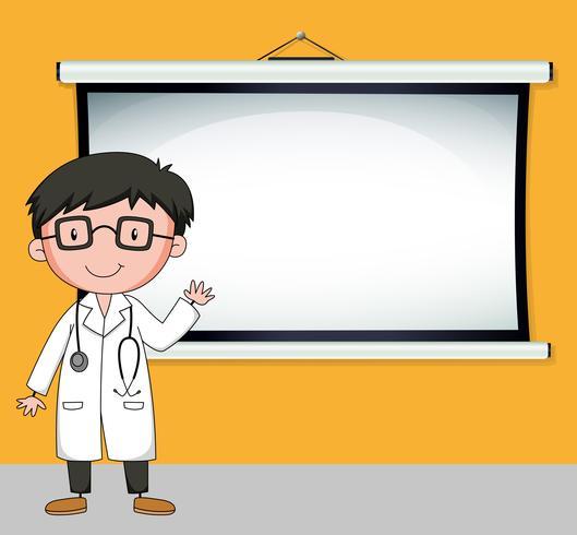 Doktor, der vor weißem Bildschirm steht