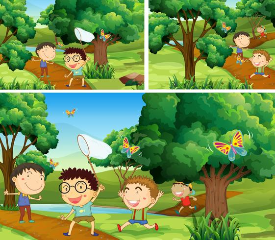Scenes with children catching bugs in garden