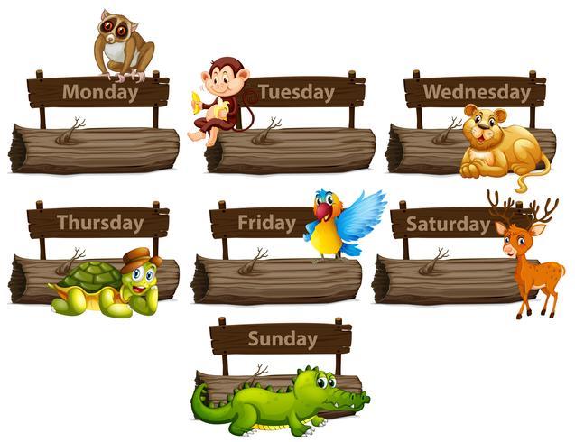Wochentage mit vielen Tieren