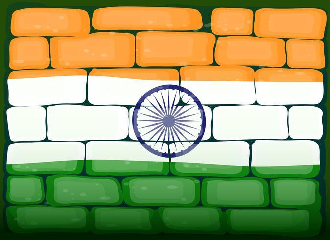Vlag van India op brickwall