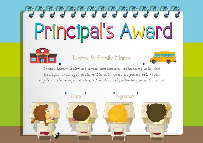 Certificate template for principal's award vector
