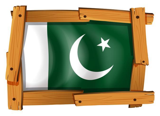 Drapeau du Pakistan sur cadre en bois