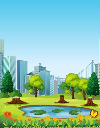 Stadsscène met park en gebouwen