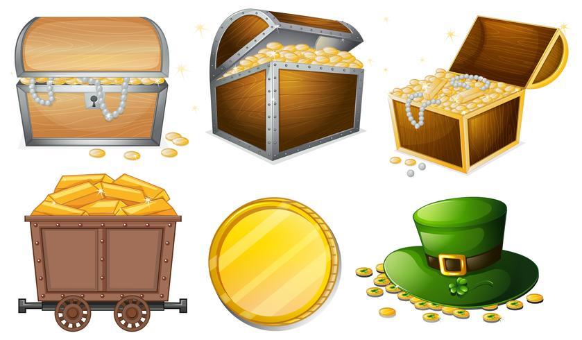 Verschiedene Behälter mit Gold gefüllt