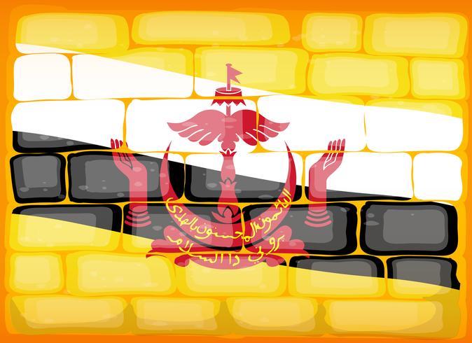 Bandeira do Brunei pintada na brickwall