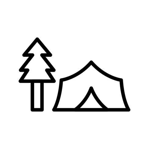 Tienda de campaña con árboles Vector icono