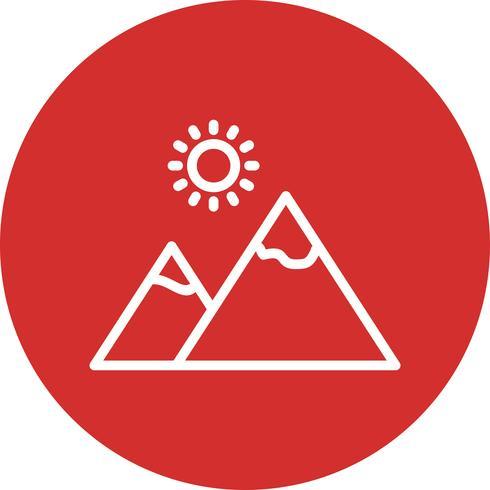Montagne avec soleil Vector Icon