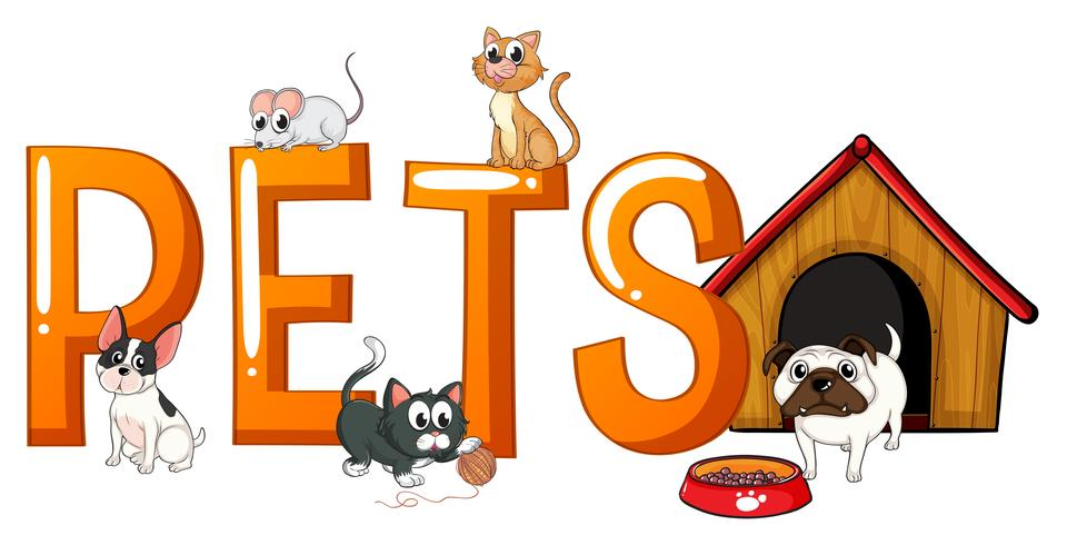 Font design with word pets