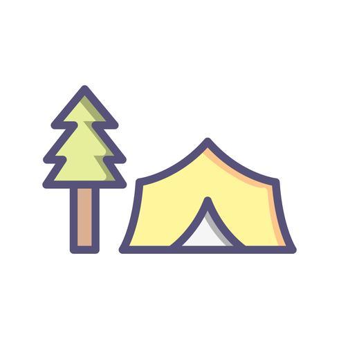 Tält med träd vektor ikon