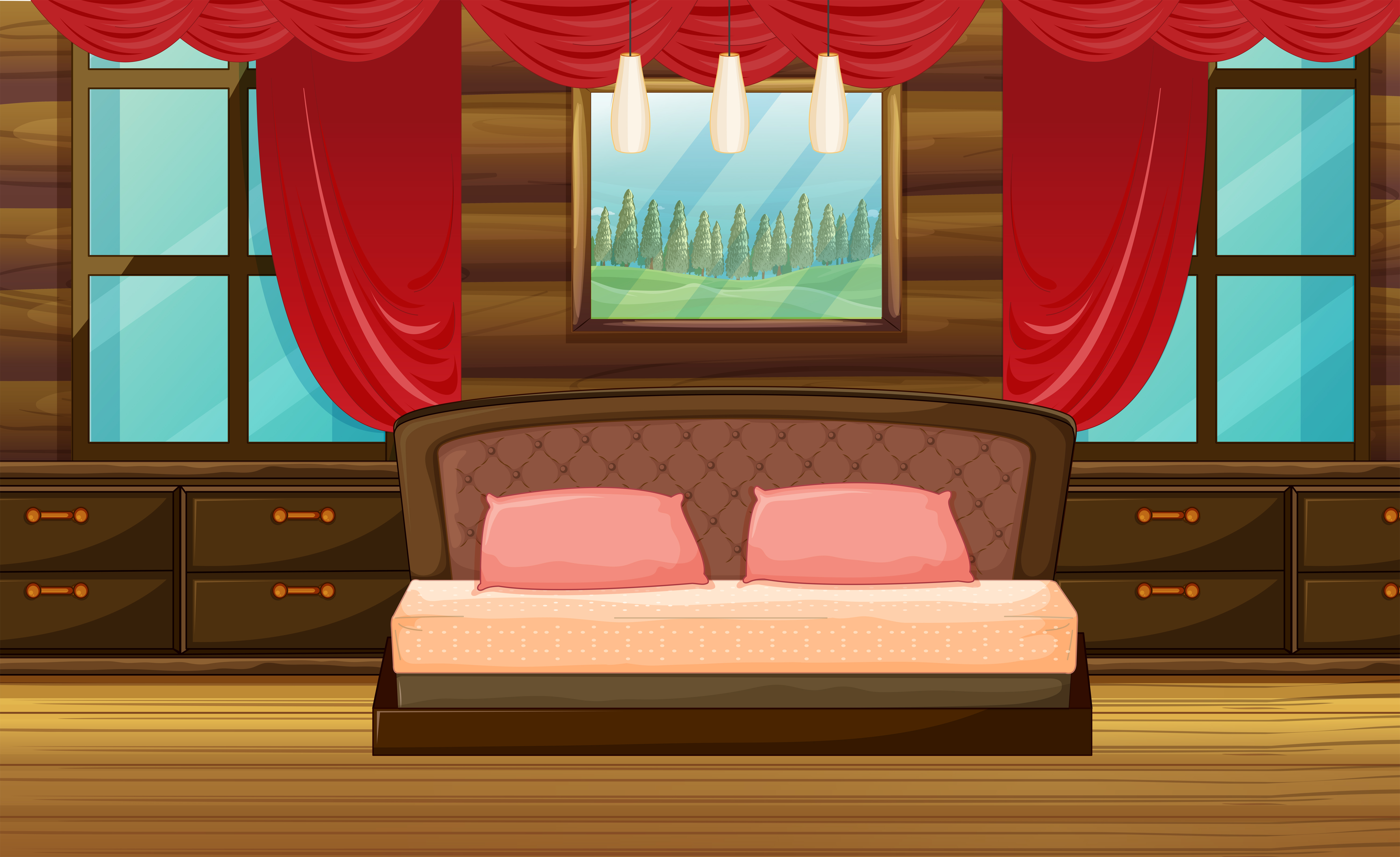 bedroom scene with wooden bed 353760  download free