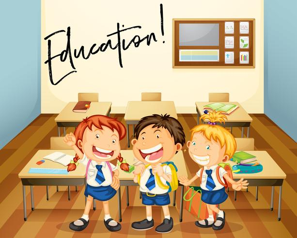 Word expression for education with students in classroom