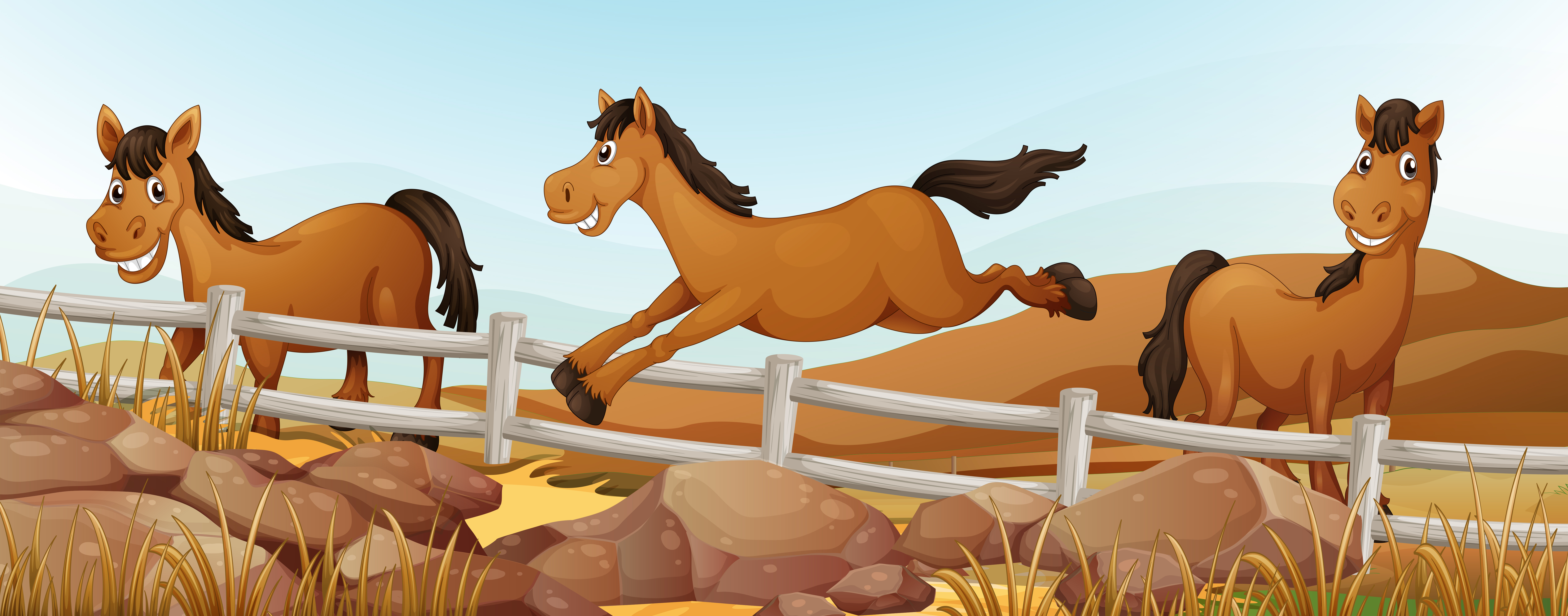 Three Horses In The Field Download Free Vectors Clipart
