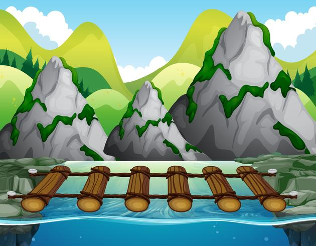 Holzbrücke über den Fluss