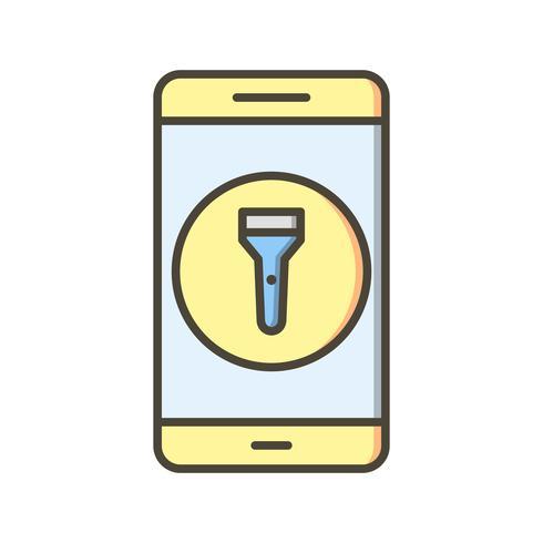 Icona di vettore di applicazione mobile luce flash