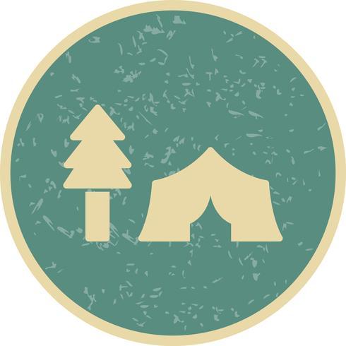 Tente avec des arbres Vector Icon