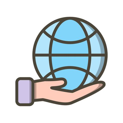 Earth on hand Vector Icon