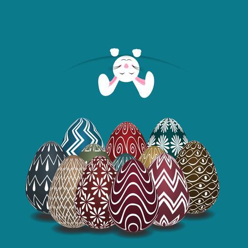 Tema di Pasqua con sopra l'uovo colorato