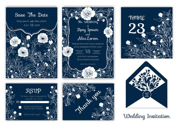 Invito a nozze, salva la data, carta RSVP, biglietto di ringraziamento, numero della tabella vettore