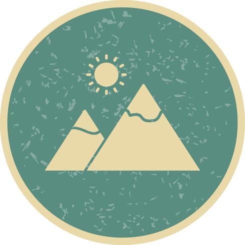Montaña con sol Vector Icon