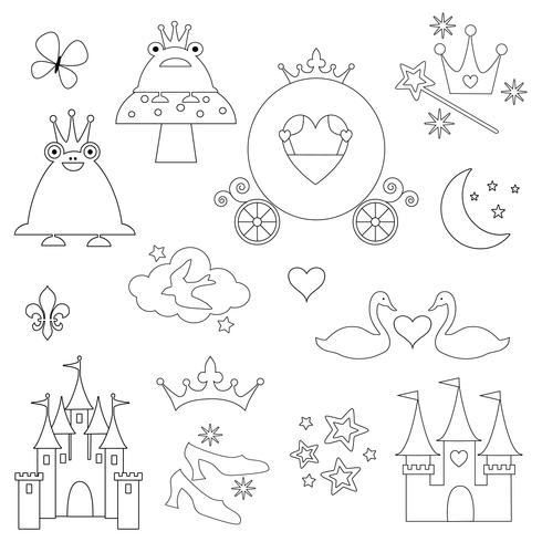 digitala frimärken från black outline princess