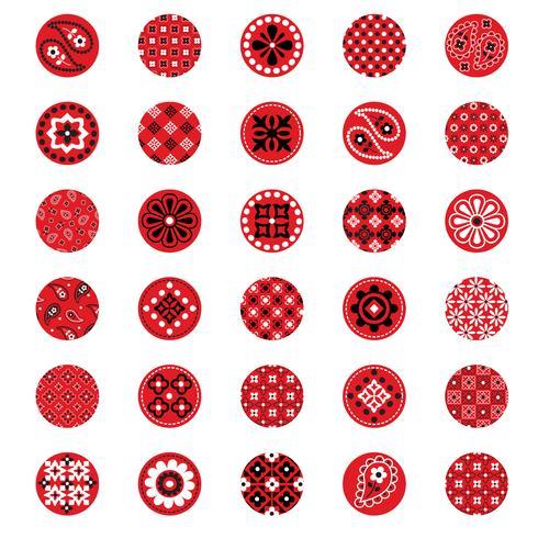 círculos vermelhos do teste padrão do bandana