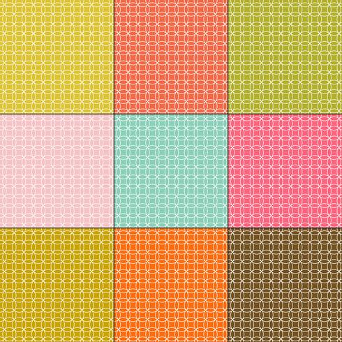 white interlocking circles patterns on retro color backgrounds