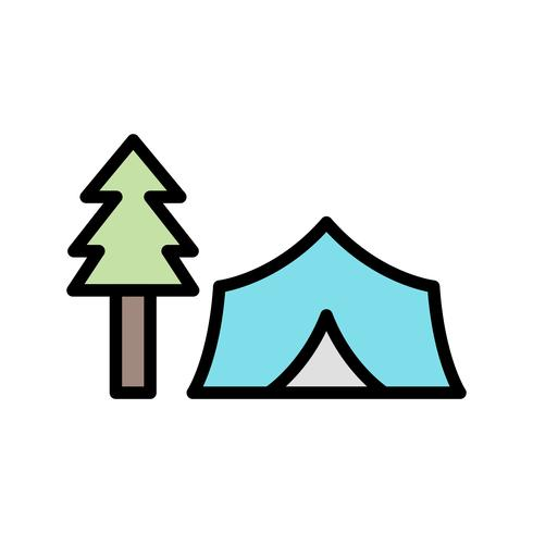 Tent with Trees Vector Icon